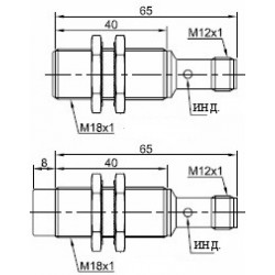 Датчик индуктивный ВКИ.М18.65Р.5.НО-НЗ.Р стандратный DC 10-30B