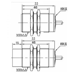 Датчик индуктивный ВКИ.М30.55К.10.НО-НЗ.Р стандратный DC 10-30B