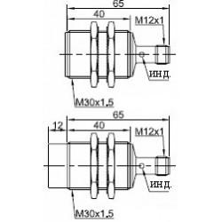 Датчик индуктивный ВКИ.М30.55Р.15.НЗ.N стандратный DC 10-30B