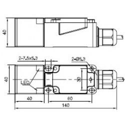 Датчик индуктивный ВКИ.П40.140М.25.НЗ.АС  пластиковый корпус 90-250В