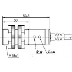Датчик оптический ВКО.М18.54К.3М.НО-НЗ.N.ПЛ цилиндрический