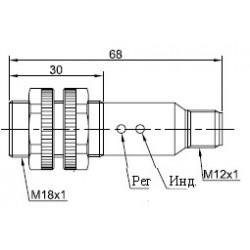 Датчик оптический ВКО.М18.65Р.3М.НО-НЗ.Р.ПЛ цилиндрический