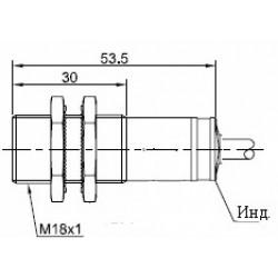 Датчик оптический ВКО.М18.54К.20М.НО-НЗ.N.ПЛ цилиндрический