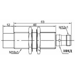 Датчик индуктивный ВКИ.М18.65Р.12.НО.N стандратный DC 10-30B